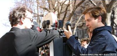 Tobey Maguire on Spider-Man Set